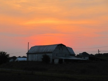 Barn at Sunset with wires